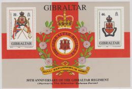 GIBRALTAR - MNH ** 1989 Regimental Arms Souvenir Sheet. Scott 548 - Gibraltar