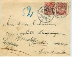 Denmark Cover 2*10 øre Rød Berkin Return To Dresden - 1864-04 (Christian IX)