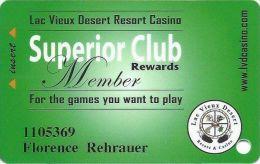 Lac Vieux Desert Casino Watersmeet MI Slot Card - 7 Lines Text In Reverse Paragraph - Carte Di Casinò