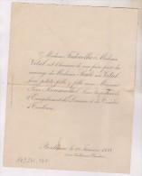 FAIRE PART MARIAGE En 1898!! A Bordeaux (avec Dessin A La Main De Tombeaux Au Dos) - Boda