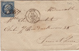MOSELLE- Metz - Enveloppe-CAD- Type15-Oblitération Grand Chiffre 2336- 1863 - Marcophilie (Lettres)