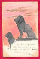 Les Lions Façon Peinture-cpa écrite Dos Simple 1904 - Lions