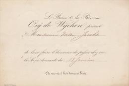 Carton Osÿ De Wychen Soirée Dansante Vers 1870 Fond Ministre Jacobs - Faire-part