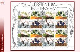 Liechtenstein 1030/33** MNH  Vigne - Mini Sheet De 16 -Zumstein 1031/34 - - Blocs & Feuillets
