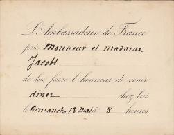 Invitation Ambassadeur De France Vers 1870  Fond Ministre Jacobs - Faire-part