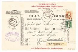 Heimat AR Teufen 26.10.1904 Mit 3Fr.+50Rp. Stehende Auf R- Fahrpoststück Nach London - Lettres & Documents
