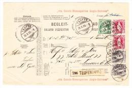 Heimat AR Teufen 29.10.1903 Mit 2x2Fr.+2x40Rp. Stehende U. 5Rp. WZ Auf R- Fahrpoststück Nach London - Lettres & Documents