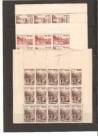 FRANCE FRAGMENTS DE FEUILLES DE 15 TIMBRES  N° 345/347  NEUF ** MNH DE1937variete Papier Jaunatre - Feuilles Complètes