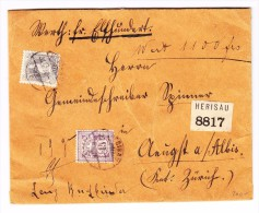 Heimat AR Herisau 30.1.1896 15Rp.WZ + 40Rp.Stehende Auf  R-Wertbrief Nach Aeugst A. Albis - 1882-1906 Wappen, Stehende Helvetia & UPU