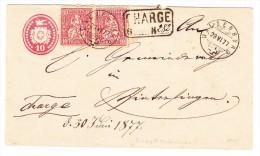 Heimat BL Waldenburg 29.6.1877 Auf 10Rp. Tüblibrief  Mit 2x10Rp. Sitzende Nach Wintersingen Ankunft Zwergstempel - Ganzsachen
