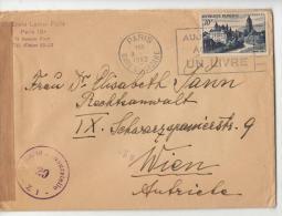 DE900-1952 Lettre PARIS-WIEN (Autriche)-30f Tourisme-YT FR905-cache Mechanique+CENSURE Cache WIEN+bande - 1921-1960: Moderne