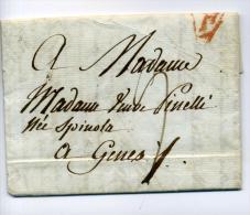 DE901-1808 Lettre PARIS-GENES (Italie)-Rouge PARIS Cachet+taxe A La Plume - Storia Postale