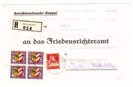Heimat BL Allschwil 28.1.1931 R-Gerichtsurkundemit 4er Block PJ 10Rp. 1931 Und 20Rp. Tellbrust - Pro Juventute