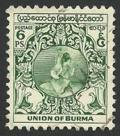 Burma, 6 P. 1949, Sc # 103, Used. - Myanmar (Burma 1948-...)