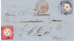 FRANCE : ALSACE . AFFRANCHISSEMENT ALLEMAND . PETITS AIGLES . A 3 Gr . 1872 . TB . - Alsace-Lorraine