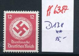 D.-Reich   Nr. Dienst  138  **  (ff6387   ) Siehe Scan - Germany