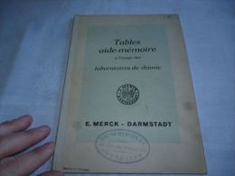 CB7 LC138 Tables E. MERCK Darmstadt -  Pour Laboratoires De Chimie - Sciences & Technique