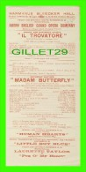 PROGRAMMES - HARMANUS  BLEECKER HALL, ABORN ENGLISH GRAND OPERA COMPANY IN 1912 - - Programmes