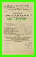 "PROGRAMMES - HARMANUS BLEECKER HALL, 1911 IN NEW YORK CITY  - ""PINAFORE"" - Programmes"