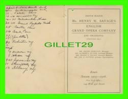 PROGRAMMES - PROGRAM - MR HENRY W. SAVAGES GRAND OPERA COMPANY & ORCHESTRA - SEASON 1905-1906 - - Programmes