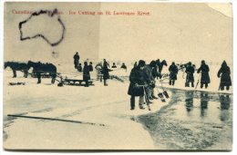 - Canada - Canadian - Sports Séries, Ice Cutting On St Lawrence River, écrite En 1914, BE, Scans. - Montreal