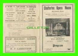 PROGRAMMES - PROGRAM - CHATTERTON OPERA HOUSE, BLOOMINGTON, IL -  GEO H. MILLER, ARCHITECT - - Programmes