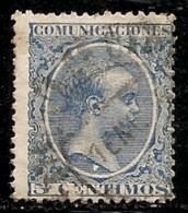 1889-1901-ED. 215 ALFONSO XIII TIPO PELÓN 5 CTS. AZUL - USADO FECHADOR ESTAFETA DE CAMBIO 7ENE96 - 1889-1931 Royaume: Alphonse XIII
