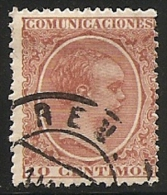 1889-1901-ED. 217 ALFONSO XIII TIPO PELÓN 10 CTS. CASTAÑO  - USADO FECHADOR REUS - 1889-1931 Royaume: Alphonse XIII
