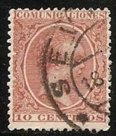 1889-1901-ED. 217 ALFONSO XIII TIPO PELÓN 10 CTS. CASTAÑO  - USADO FECHADOR SEVILLA - 1889-1931 Kingdom: Alphonse XIII