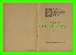 PROGRAMMES - PROGRAM - THE TORONTO MENDELSSOLHN CHOIR, 1915 - CONCERTS, MASSEY MUSIC HALL - 14 PAGES - - Programmes