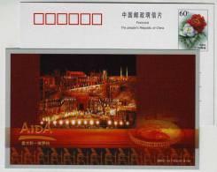 China 2000 Verdi Opera Aida Pre-stamped Card Italy Verona Amphitheatre Opera House,only 5000 Exsit! - Music
