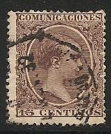 1889-1901-ED. 219 ALFONSO XIII TIPO PELÓN 15 CTS. CASTAÑO VIOLETA  - USADO FECHADOR AMBULANTE FERROVIARIO DEL 92 - 1889-1931 Royaume: Alphonse XIII
