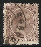 1889-1901-ED. 219 ALFONSO XIII TIPO PELÓN 15 CTS. CASTAÑO VIOLETA  - USADO FECHADOR CÓRDOBA - 1889-1931 Kingdom: Alphonse XIII