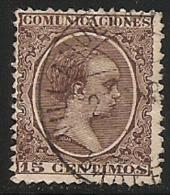 1889-1901-ED. 219 ALFONSO XIII TIPO PELÓN 15 CTS. CASTAÑO VIOLETA  - USADO FECHADOR VILLANUVA Y GELTRU BARCELONA - 1889-1931 Royaume: Alphonse XIII
