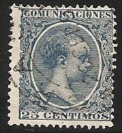 1889-1901-ED. 221 ALFONSO XIII TIPO PELÓN 25 CTS. AZUL  - USADO FECHADOR 20SEP93 - 1889-1931 Royaume: Alphonse XIII