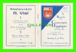 PROGRAMMES - PROGRAM - BIARRITZ (64) 1929 - CONCOURS HIPPIQUE INTERNATIONAL, PELOUSE D'AGUILÉRA - - Programmes