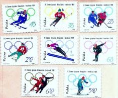 1964 Polonia Set 8v. Jeux Olpympics - Innsbruck 1964 Mi 1457-1463 Yvert 1322-1329 NEUF MNH ** - 1944-.... República