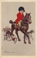 ENFANTS - HORSE - DOG - Jolie Carte Fantaisie Cavalier Avec Cheval Et Chien Signée COLOMBO - Colombo, E.
