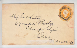 INDIA POSTAGE - TWO ANNAS AND SIX PIES - JAUNE - POUR PARIS - 1894 - Entiers Postaux