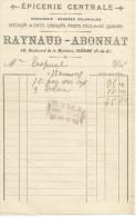 FACTURE EPICERIE CENTRALE RAYNAUD-ABONNAT à ISSOIRE (PUY DE DOME) 1918 - France