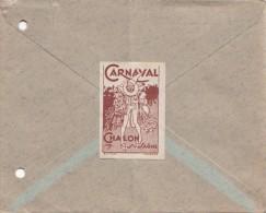 LETTRE 1948 CIGOGNE DE STASBOURG.VIGNETTE CARNAVAL DE CHALON-S-SAÔNE/ 6205 - France