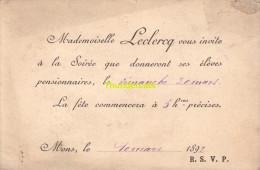 INVITATION MONS 1892  LECLERCQ PENSIONNAT - Mededelingen