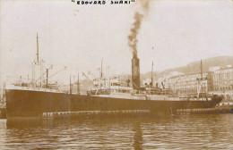 """Cpa Carte Photo I Bateau Identifié """"  Edouard Shaki """"  Des Afréteurs Réunis  Transport Maritime Construit Newcastle 1918 - Ferries"""