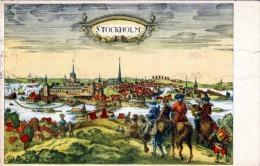 Künstlerkarte STOCKHOLM 1951 Luftpost 2 Fach Frankiert Österr.Zensurstempel - Schweden