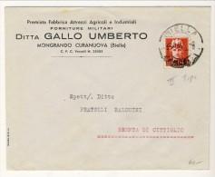 Lettera Commerciale Da Biella A Brenta Di Cittiglio 11.9.1945 Affrancata Con Il N. 541 L. 2 Carminio - Storia Postale