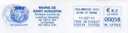 EMA Mairie Seine Et Marne Saint Augustin - Postmark Collection (Covers)