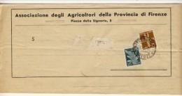 Francobolli Di Posta Aerea Usati Come Ordinari. Bollettino Ass. Agricoltori 20.5.1946 Con Bolli N. A12 C. 25 E A14 C. 75 - 6. 1946-.. Repubblica