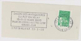 FRANCE. FRAGMENT POSTMARK, ANTIQUES FAIR. 2000. LE PUY EN VELAY - Marcofilia (sobres)