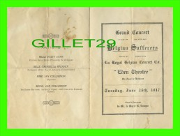 PROGRAMMES - PROGRAM - EDEN THEATRE, STE ANNE DE BELLEVUE, QUÉBEC - LA ROYAL BELGIAN CONCERT CO IN 1917 - - Programmes