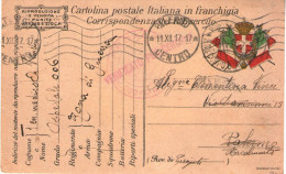 Franchigia Dall´OSPEDALE 006 (Carpenedo - Treviso) POSTA MILITARE 23° CORPO D'ARMATA Per PALERMO/RACALMUTO (RL1667) - Guerra 1914-18